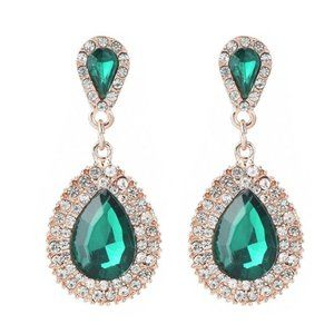 Green and Gold Long Teardrop Rhinestone Earrings